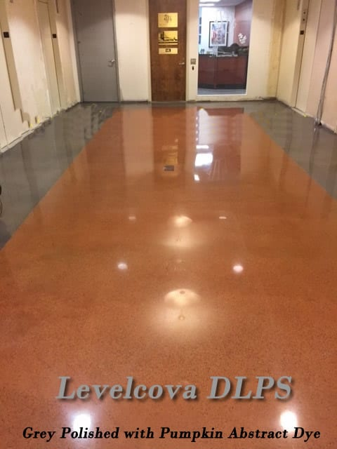 Levelcova overlay/topping of concrete floor polished concrete with staining/dye finish