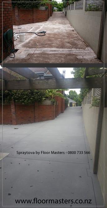 Spraycova Driveway resurfacing b4 and after