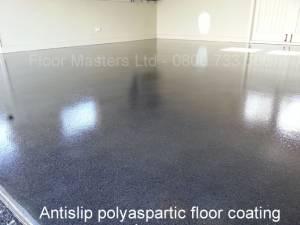 Polyaspartic clear floor coating on polished concrete floor. Antislip finish