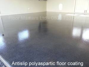Polyaspartic clear floor coating on polished concrete floor. Antislip finish