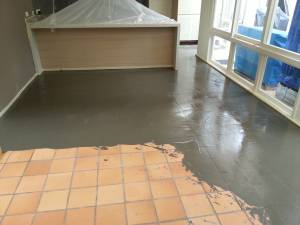 This is an initial skim over a diamond ground tile floor - before being finished with Levelcov