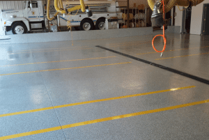 Fire Station floor with Sparta-Flake Polyaspartic floor coating system