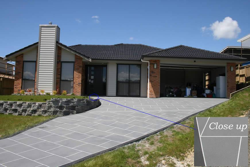 Spraycova decorative concrete resurfaced driveway